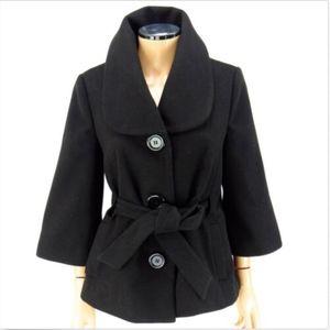 FOREVER 21 BOUTIQUE Cape Belted Coat Black M
